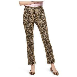 J.CREW 27 Kickout Crop Leopard Jeans pants
